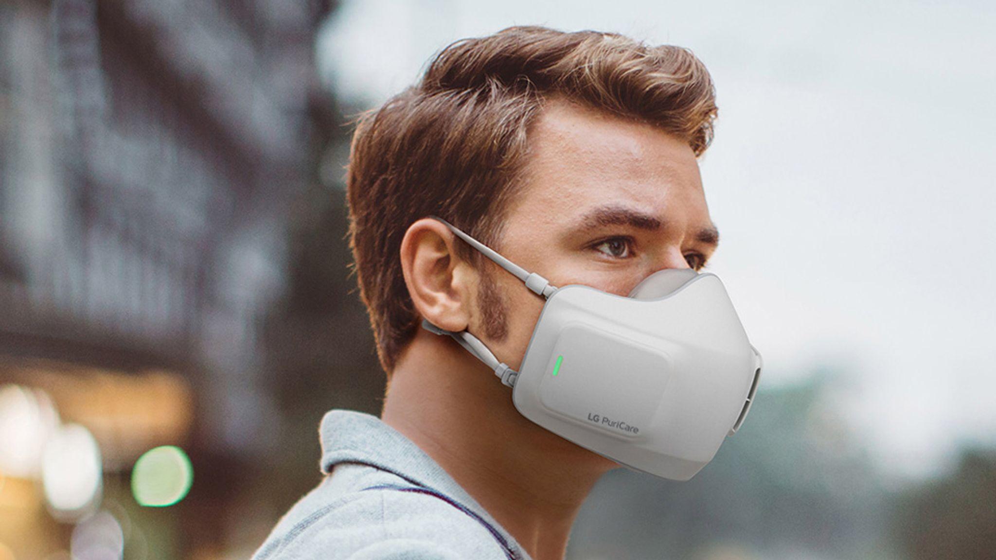 شركة LG تكشف عن قناع وجه جديد يعمل بالبطارية لتنقية الهواء